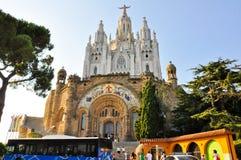 25 Barcelona-JULI: De Tempel Expiatori del Sagrat Cor op 25 Juli, 2009. Voorgevel van de crypt. Royalty-vrije Stock Afbeelding