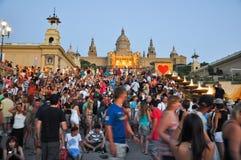 25 Barcelona-JULI: Magische Fontein op 25 Juli, 2013 in Barcelona. Stock Fotografie