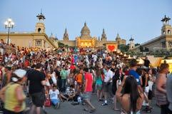 25 Barcelona-JULI: Magische Fontein op 25 Juli, 2013 in Barcelona. Royalty-vrije Stock Afbeelding