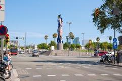 BARCELONA-JULY 25 :巴塞罗那的沿海岸区和Cara 2013年7月25日的de巴塞罗那在巴塞罗那。卡塔龙尼亚,西班牙。 免版税库存图片