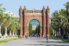 BARCELONA - JULY 18: Arc de Triomf landmark in Ciutat Vella district on July 18, 2018 in Barcelona. European city destination Royalty Free Stock Photography