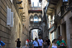 BARCELONA-JULY 22: Carrer del Bisbe Irurita in the Gothic Quarter on July 22, 2012 in Barcelona. Catalonia. Spain. Stock Photography
