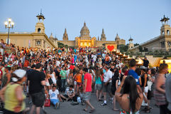 BARCELONA-JULY 25: Magic Fountain on July 25, 2013 in Barcelona. Royalty Free Stock Image