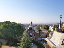 Barcelona, July 2017: Park Guell of the arquitect Gaudi in Barcelona, Spain. Summer royalty free stock photo