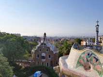 Barcelona, July 2017: Park Guell of the arquitect Gaudi in Barcelona, Spain. Summer royalty free stock photos