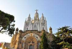 BARCELONA-JULY 25:The Temple Expiatori del Sagrat Cor on July 25, 2009. Facade of the crypt. Royalty Free Stock Images