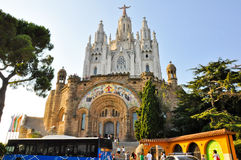 BARCELONA-JULY 25:The Temple Expiatori del Sagrat Cor on July 25, 2009. Facade of the crypt. Royalty Free Stock Image
