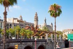BARCELONA-JULY 25: Uśmiechnięta garnela na Barcelona nadbrzeżu na Lipu 25, 2013 w Barcelona. Catalonia, Hiszpania. Obrazy Royalty Free