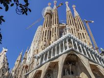 Sagrada Familia. BARCELONA - JULY 19: View of the famous Sagrada Familia in Barcelona, Spain on July 19, 2018. Sagrada Familia is an unfinished Roman Catholic stock images