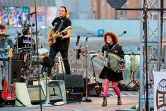 Arcade Fire music band perform in concert at Primavera Sound 2017 Festival. BARCELONA - JUN 1: Arcade Fire music band perform in concert at Primavera Sound 2017 Royalty Free Stock Photos