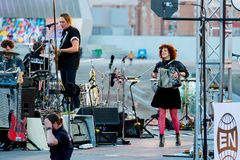 Arcade Fire music band perform in concert at Primavera Sound 2017 Festival. BARCELONA - JUN 1: Arcade Fire music band perform in concert at Primavera Sound 2017 Royalty Free Stock Images