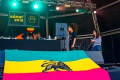 Congo Natty feat. Congo Dubz, Tenor Fly, Nanci and Phoebe perform in a concert at Sonar Festival. BARCELONA - JUN 17: Congo Natty feat. Congo Dubz, Tenor Fly Stock Photos