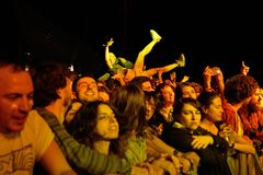Crowd in a concert at Primavera Sound 2016 Festival Royalty Free Stock Photo