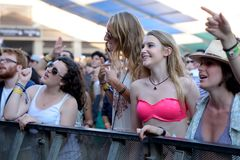 Crowd in a concert at Sonar Festival. BARCELONA - JUN 20: Crowd in a concert at Sonar Festival on June 20, 2015 in Barcelona, Spain Stock Photography