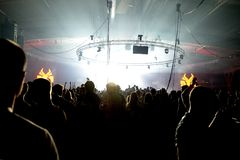 Crowd dance in a concert at Sonar Festival royalty free stock image