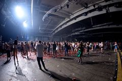 Crowd dance in a concert at Sonar Festival. BARCELONA - JUN 19: Crowd dance in a concert at Sonar Festival on June 19, 2015 in Barcelona, Spain Stock Image