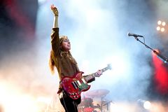 Haim indie music band perform in concert at Primavera Sound 2017 Festival. BARCELONA - JUN 3: Haim indie music band perform in concert at Primavera Sound 2017 Royalty Free Stock Photos