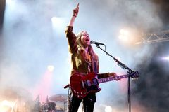 Haim indie music band perform in concert at Primavera Sound 2017 Festival. BARCELONA - JUN 3: Haim indie music band perform in concert at Primavera Sound 2017 Stock Photos