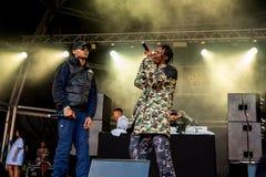 Section Boyz rap band perform in concert at Sonar Festival. BARCELONA - JUN 18: Section Boyz rap band perform in concert at Sonar Festival on June 18, 2016 in royalty free stock images