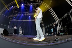 Swet Shop Boys Indian Pakistani hip hop group, consisting of rappers Heems and Riz MC perform in concert at Primavera Sound 2017 stock image