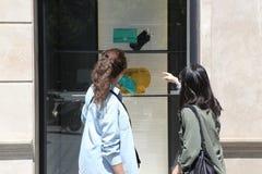 BARCELONA - JUNE 10 : Customer woman in shopping street, looking Stock Photos