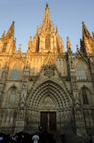 Barcelona-Kathedrale bei Sonnenuntergang lizenzfreie stockfotografie