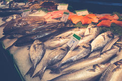 Barcelona, La Boqueria A covered market for fish, meat, vegetabl Royalty Free Stock Photos