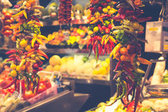 Barcelona, La Boqueria A covered market for fish, meat, vegetabl Royalty Free Stock Image