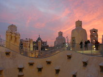 Barcelona, La Pedrera Gaudi's building. Sunset. Royalty Free Stock Photo
