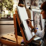 Barcelona. La ramble street artist drawing stock photos