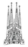 Barcelona label  Sagrada Familia isolated on white background Stock Photography