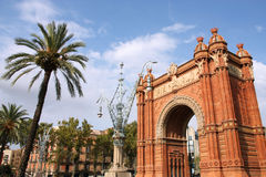 Barcelona landmark. The Arc de Triomf (English: Triumphal Arch) - archway structure in Barcelona, Spain. Built by architect Josep Vilaseca i Casanovas. Moorish Royalty Free Stock Images