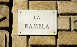 Barcelona Landmark: La Rambla Road Sign. The La Rambla Street runs from the heart of Barcelona to the port area and is one of the most famous landmarks in the Royalty Free Stock Images