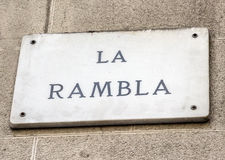 Barcelona landmark - La Rambla street sign. In wal, Spain Stock Image