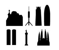 Barcelona landmarks isolated. Vector illustrations as silhouette of most famous buildings and monuments of the spanish city and capital of catalonia barcelona Royalty Free Stock Images