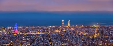 Barcelona landscape panoramic. Sunrises in barcelona landscape panoramic stock image