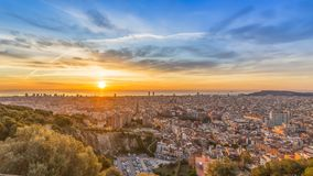 Sunrises in barcelona landscape stock photos