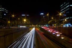 Barcelona Las luces de la ciudad de la noche Foto de archivo libre de regalías