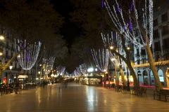 Barcelona. Las Ramblas in the evening. Stock Photos