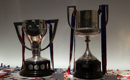 Barcelona League and Cup Double Trophies 2015-16 Royalty Free Stock Photography