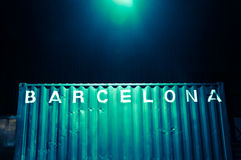 Barcelona lettering on a container at night Stock Photos