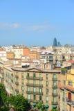 Barcelona linia horyzontu Agbar i Torre, Hiszpania Obrazy Stock