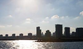 Barcelona linia horyzontu od Śródziemnomorskiego Zdjęcia Royalty Free