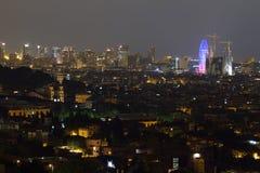 Barcelona linia horyzontu przy nocą Obraz Royalty Free