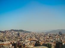 Barcelona linii horyzontu widok od zmierzchu noc Zdjęcie Stock