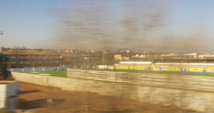 Barcelona living block train ride window view 4k spain. Spain barcelona living block train ride window view 4k stock video