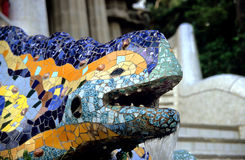Barcelona Lizard Fountain Stock Photography