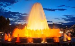 Barcelona magic fountain in Plaza de Espana, Spain Stock Photos