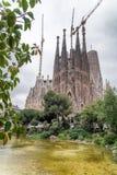 BARCELONA - MAJ 12, 2018: Yttersida av Sagrada Familia Denna är t Royaltyfri Bild