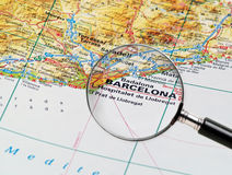 Barcelona on a map. Focus on Barcelone on the Map. Source: the big World atlas Royalty Free Stock Photos